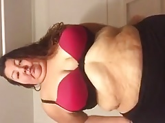 Plumper undresses down and..